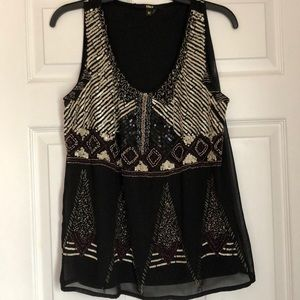 Beaded Intricate Black Blouse